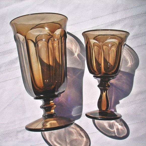 Vintage Colored Glasses Drinking Water Amber Wine